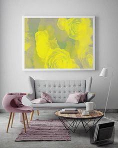 Yellow Roses Print, Flower Art, Minimalist Poster, Modern Wall Art, Colorful…