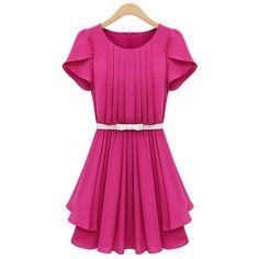 Elegant Scoop Neck Short Sleeve Solid Color Pleated Chiffon Dress For Women, PLUM, XL in Chiffon Dresses | DressLily.com