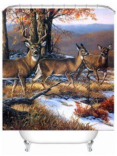 Deer Print Waterproof Polyester Shower Curtain