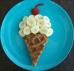 Icecream for breakfast...this blog has some really cute meals for kids.This is wheat toast on the bottom.