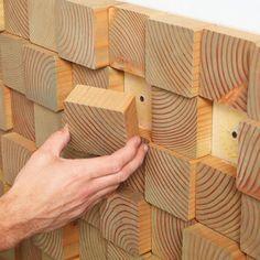 Painel para paredes decorado com blocos de madeira - Nova textura que você faz em um fim de semana ~ VillarteDesign Artesanato