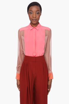 Chloe - Pink Sheer Sleeve Silk Blouse.  Love this! Opaque yokes and cuffs, and those trousers!!