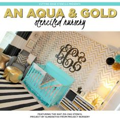 Cutting Edge Stencils shares a DIY metallic gold chevron stenciled accent wall using the Ikat Zig Zag Allover Stencil.   http://www.cuttingedgestencils.com/zigzag-stencil-pattern.html?utm_source=JCG&utm_medium=Pinterest%20Comment&utm_campaign=Ikat%20ZigZag