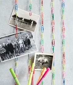 Coole Idee eine Fotoleiste aus bunten Büroklammern