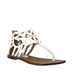 JOVILE WHITE LEATHER women's sandal flat ankle strap - Steve Madden