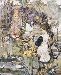 Swans, Lilies And Iris, 1899 by Edward Atkinson Hornel