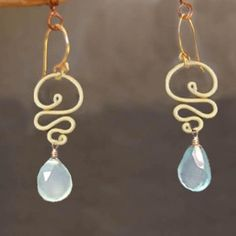 Nouveau 210 Hammered wired swirl drops with your choice of stone (sea blue chalcedony shown)