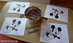 Mickey Mouse clubhouse birthday party Coloring Station, etc