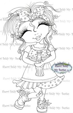 Sherri Baldy Bestie digi stamp - My Besties Shop Big Eyes Artist, Line Art Images, Gothic Culture, Creation Art, Black And White Lines, Eye Art, Tampons, Digi Stamps, Coloring Book Pages