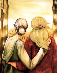 """Mother and blonde daughter """"our walk"""" art print by claudiatremblay on Etsy"""