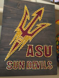 Arizona State Sun Devils String Art! Nail Art, Wood Art. Arizona State University. This was a custom made to order project. Contact me at StringoftheArt@gmail.com for your custom order. Check out www.StringoftheArt.com  to learn more about DIY string art kits and how you can make them yourself!