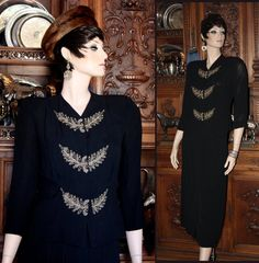 Vintage Dietrich Style Hollywood Beaded Pearls Cocktail Black 2pc Crepe Dress