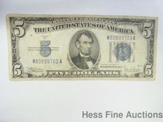 1934C $5 Five Dollar Bill Silver Certificate Currency Note Blue Seal