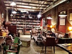 Vintage Bookstore   library wall and vintage decor!: Vintage Coffee Shops, Dream, Coffee ...