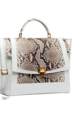 Elie Saab ~ White Leather + Snakeskin Satchel 2015