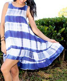 Blue Tie-Dye Ruffle-Hem Dress - Women #zulily #zulilyfinds
