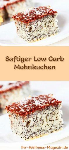 Rezept für einen Low Carb Mohnkuchen: Der kohlenhydratarme Kuchen wird ohne Zucker und Getreidemehl gebacken. Er ist kalorienreduziert und ... #lowcarb #Kuchen #backen