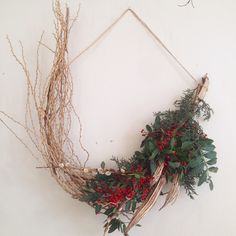 "holiday wreath by @twigandtwine via www.studiogblog.com  A great ""southern"" example of use what you have available to make something wonderful!"