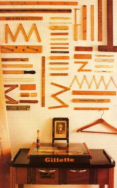 In this collection display, the neutral tonality and spacing help with the overall look. The smaller individual pieces make one large piece of art when displayed this way. Dog Boutique, Old Tools, Vintage Tools, Displaying Collections, Ruler, Decoration, Sweet Home, Diy Crafts, Cool Stuff