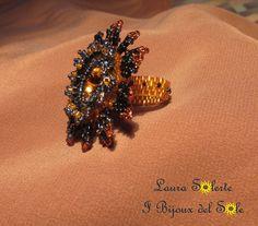 Anello Nymphea Cerulea topazio e blu con cristallo swarovski, perline miyuki e charlottes : il dettaglio della fascetta
