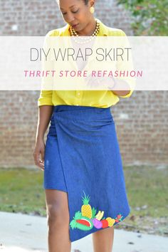 Transform an old thrift store skirt with elastic waist into a trendy wrap skirt, asymmetrical wrap diy skirt, thrift store fashion diy, diy skirt tutorial, embroidered patch on denim skirt, thrift store fashion, sew or liquid stitch a too big skirt for a more fitted look