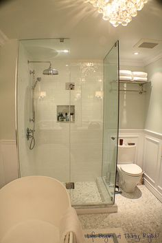 glass shower, shower head kit, wainscotting