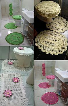 Jogo de banheiro de crochê: Modelos, fotos e passo a passo