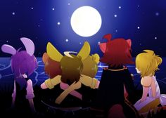 Fnaf cast watching the moon I'm so in love with this pic right now I just love how freddy g.freddy and springtrap (g.bonnie) are hugging each other while they watch the moon with the others