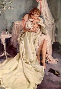 John Gannam Illustration, Mother and Child Family Illustration, Illustration Art, Girl Illustrations, Mother Painting, Mode Poster, Romance Art, Arte Pop, Art Graphique, Vintage Artwork