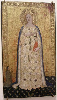 Nardo di Cione, Madonna del parto e donatore, 1355-1360.