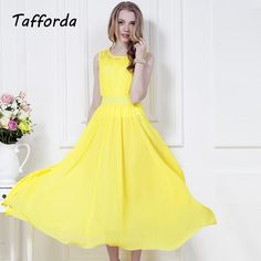 2017 New Spring and Tunic Summer Yellow Sleeveless Party Lace Chiffon Dress Bohemia Beach Dresses for Women #Affiliate