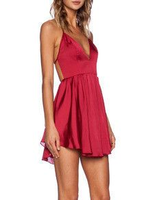 Red Spaghetti Strap Criss Cross Back Pleated Dress
