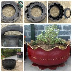 Old Tire Made Into Pretty Planter ... I already translated it into English…