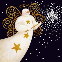 2016/04/08 Snowman Angel Scattering Snowflakes - Stephanie Stouffer