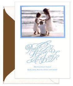 Peace Love and Joy Photo Letterpress Holiday Cards