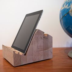 "BLÖCT - Wood Tablet Stands for #iPad    Our Model A.1 is made out of a 6"" x 12"" Douglas Fir glue-laminated beam. Usually used for major structural component in building construction, we opted for the gluelam material because of its dimensional stability and warm feel. We're staying true to the material by not finishing it, allowing a patina of use to build up over time.    3 viewing positions  Works in both portrait and landscape  Felt Feet  Integrated hand grip  Made in US"
