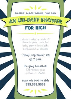 Daddy Diaper Un Baby Shower - Dad Shower Invitation. $10.00, via Etsy.