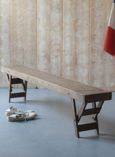 vintage utilitarian wooden fold away school bench LNDN