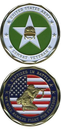 """United States Military US Armed Forces Army Combat Veteran """"Baptized In Battle…"""" – Good Luck Double Sided Collectible Us Military Medals, Military Honors, Military Memorabilia, Military Life, Military Ribbons, Military Quotes, Military Service, Military Challenge Coins, Service Medals"""