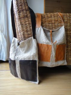 Hand Stitched Leather X Linen Shoulder Bag by Asaborake, via Flickr. Inspiration pin.