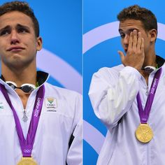 Chad le Clos, getting emotional while singing the national anthem after winning gold at the London 2012 Olympics. Love this boy! xx