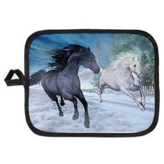 new at @CafePress : #Freedom in the #snow #Potholder Two #horses #galloping at night through a #winter landscape. A fantastic #horse picture for all horse lovers!  $9.19