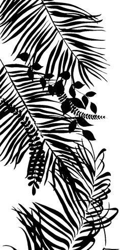 Textile Prints, Textile Design, Border Design, My Design, Solid Black, Black And White, Black Leaves, White Patterns, Pattern Art