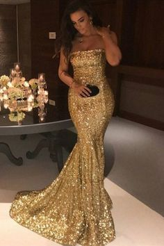 Glitter Long Gold Sequins Strapless Prom Dress by PrettyLady on Zibbet Strapless Prom Dresses, Sequin Prom Dresses, Prom Dresses 2018, Mermaid Dresses, Bridesmaid Dresses, Long Dresses, Gold Sequin Dress, Dress Prom, Party Dresses