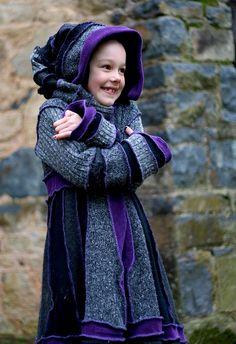 DEPOSIT Girls Pixie  Coat upcycled elf clothing by sweetandblue, $29.00