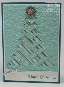 """Stampin' Up! Stamping T! - Embossed Lace Folded Christmas Tree Card.   Cut template and cutting file available.  Video tutorial.  Google the word """"incire"""" and you will find templates for more shapes for this technique."""