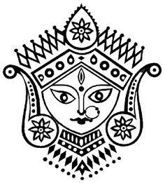 Drawings : Pencil Drawings of Goddess Durga & Ganesha Pencil Art Drawings, Art Drawings Sketches, Easy Drawings, Mandala Art, Madhubani Art, Madhubani Painting, Goddess Art, Durga Goddess, Arte Tribal