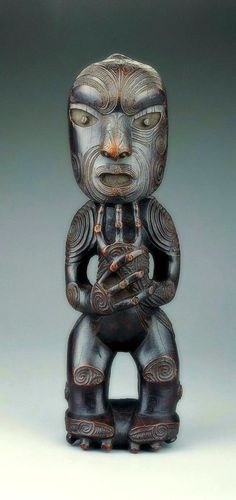 Standing Ancestor Figure New Zealand, Maori culture, possibly Rongowhakaata people Te Huringa period c. 1800–1840