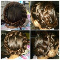 12 subsections so 12 ponytail sections and hairties you'll need to start with on section and spilt it and take it on the sides over the next section into the 3 section and hair tie it to the 3 section