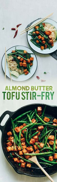 This Almond Butter Tofu Stir-Fry recipe is healthy, vegan, gluten-free and makes a very tasty meal!